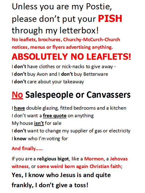 No Leaflets or Canvassers