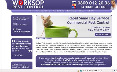 Worksop Pest Control Website