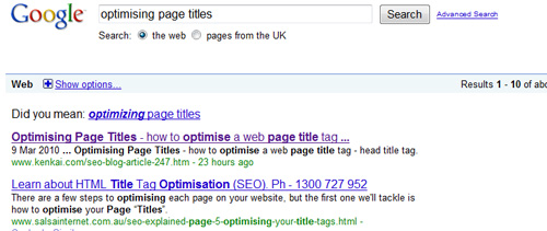 Google example listing