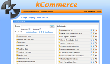 kCommerce eCommerce - Arrange Category