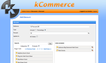 kCommerce eCommerce - Add Discount