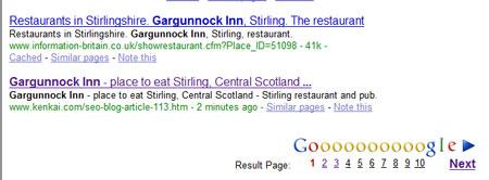 Google SERPs - The Gargunnock Inn