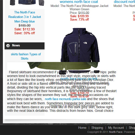 North Face Jacket scam site
