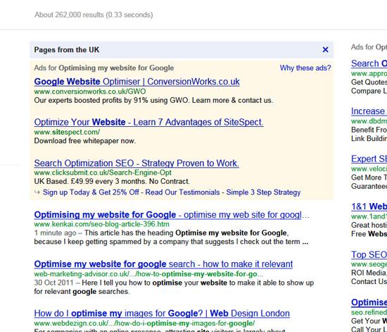 Optimising my website for google