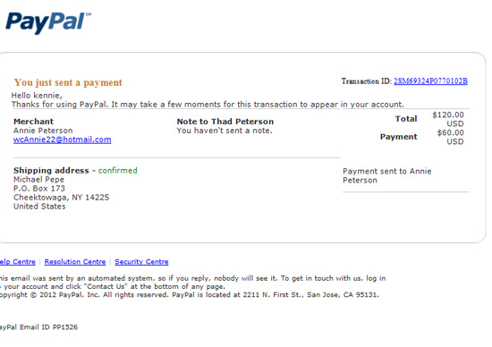 Paypal Scam Email